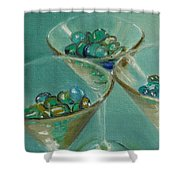 Three Martini Glasses With Jewels Shower Curtain