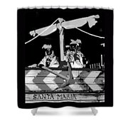 Three Maskers In  Black And White Shower Curtain