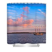 Three Masted Schooner At Anchor In The St Marys River Shower Curtain
