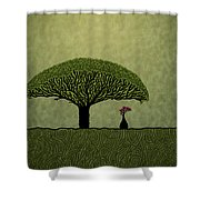 Three Of Green Shower Curtain