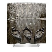 Three Old Canoes Shower Curtain by Debra and Dave Vanderlaan