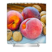 Three Peaches And Some Walnuts Shower Curtain