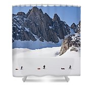Three People Ski-tour On Karale Glacier Shower Curtain