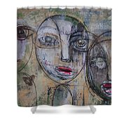 Three Portraits On Paper Shower Curtain