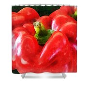 Three Red Peppers Shower Curtain