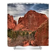 Three Red Towers Shower Curtain