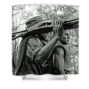 Three Soldiers In Vietnam Shower Curtain by Cora Wandel