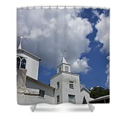 Three Steeples On Historic Florida Church Shower Curtain