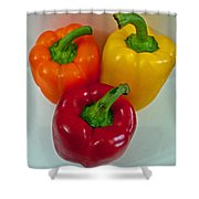 Three Sweet Peppers Shower Curtain