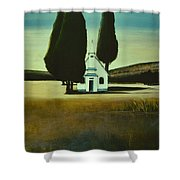 Three Trees And A Church Shower Curtain
