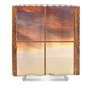 Three Trees Sunrise Barn Wood Picture Window Frame View Shower Curtain