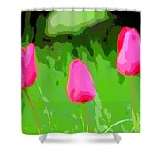 Three Tulips - Painting Like Shower Curtain