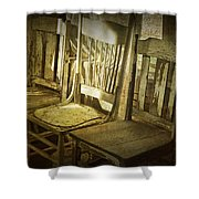 Three Vintage Wooden Chairs Shower Curtain