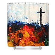 Three Wooden Crosses Shower Curtain