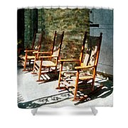 Three Wooden Rocking Chairs On Sunny Porch Shower Curtain