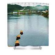 Three Yellow Boats Shower Curtain