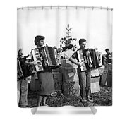 Three Young Accordion Players Shower Curtain