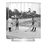 Three Young Children Play Golf Shower Curtain