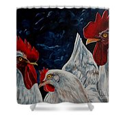 Three's A Crowd   -    Roosters -chicken Shower Curtain