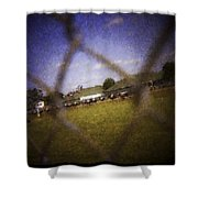Through The Fence Water Color Shower Curtain
