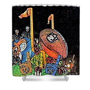 Through The Goal Posts Shower Curtain