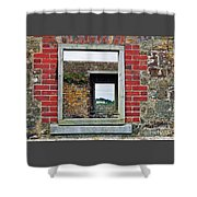 Through Windows At Charles Fort, Ireland Shower Curtain