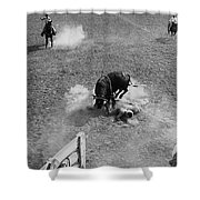 Thrown Bull Rider Rodeo Tohono O'odham Reservation Sells Arizona 1969  Shower Curtain