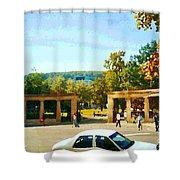 Thru Roddick Gates Your Future Awaits Mcgill University Paintings Montreal Art Carole Spandau Shower Curtain