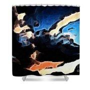 Thunder Clouds Expressive Brushstrokes Shower Curtain