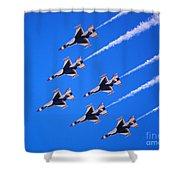 Thunderbirds Jet Team Flying Fast Shower Curtain