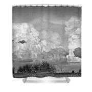 Thunderstorm Clouds And The Little House On The Prarie Bw Shower Curtain
