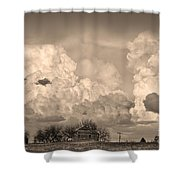 Thunderstorm Clouds And The Little House On The Prairie Sepia Shower Curtain