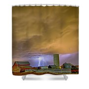 Thunderstorm Hunkering Down On The Farm Shower Curtain