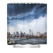 Thunderstorm Over Manhattan Downtown Shower Curtain