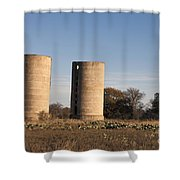 Thurber Dairy Silos Texas Shower Curtain