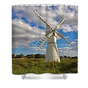 Thurne Dyke Windpump On The Norfolk Broads Shower Curtain