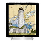 Tibbetts Pt Lighthouse Ny Lake Ontario Nautical Chart Map Art Shower Curtain