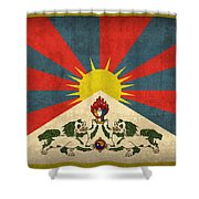 Tibet Flag Vintage Distressed Finish Shower Curtain