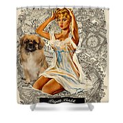 Tibetan Spaniel Art - Una Parisienne Shower Curtain by Sandra Sij