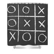 Tic-tac-toe On A Chalkboard Shower Curtain