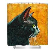 Black Cat In Profile Shower Curtain