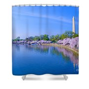 Tidal Basin And Washington Monument With Cherry Blossoms Shower Curtain