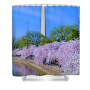 Tidal Basin And Washington Monument With Cherry Blossoms Vertical Shower Curtain