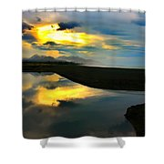 Tidal Pond Sunset New Zealand Shower Curtain