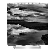 Tidal Pond Sunset New Zealand In Black And White Shower Curtain