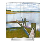 Tide And Fence Oil Shower Curtain