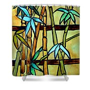 Stained Glass Tiffany Bamboo Panel Shower Curtain