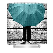 Tiffany Blue Umbrella Shower Curtain