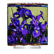 Tiffany Style Blue Iris Shower Curtain