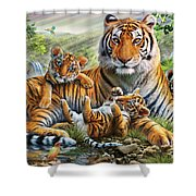 Tiger And Cubs Shower Curtain by Adrian Chesterman
